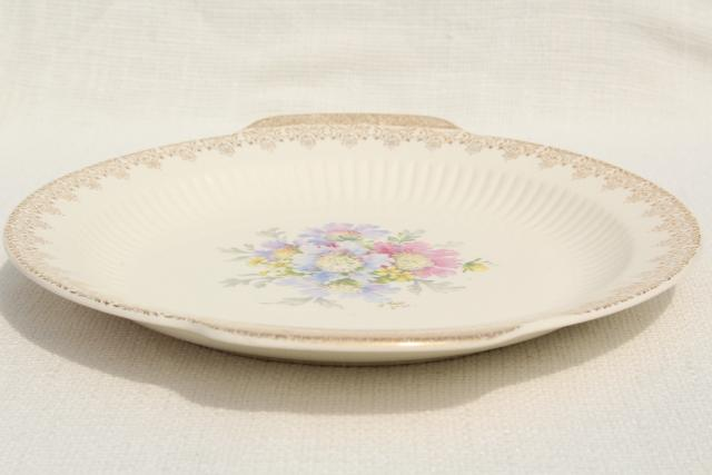 vintage china cake plate serving tray, shabby floral pincushion flower bouquet