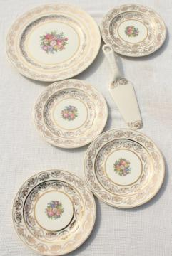 vintage china cake plates & serving plate set, floral bouquet w/ gold lace border