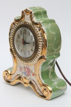 vintage china case mantle clock, fancy painted green marble boudoir or parlor clock