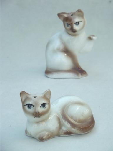Salt Lamp Safe For Cats : vintage china cat salt & pepper shakers, Siamese cats figural S&P lot