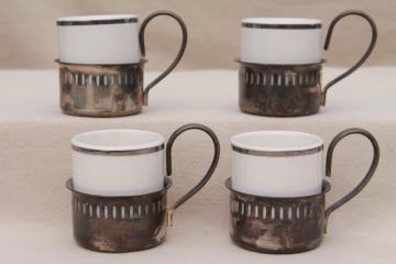 vintage china demitasse cups or turkish coffee glasses w/ silver plate cup holders