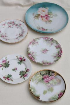 vintage china dessert set, mismatched roses cake plates & serving plate
