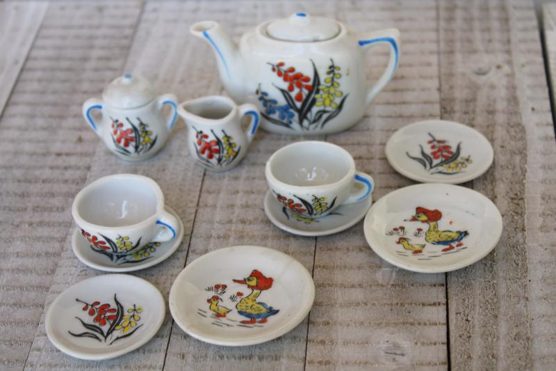 vintage china doll dishes w/ hand painted Mother Goose, made in Japan mini toy tea set