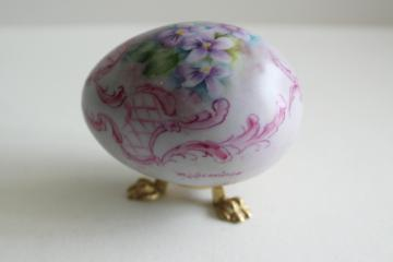vintage china egg w/ hand painted violets, artist signed Easter egg & metal stand