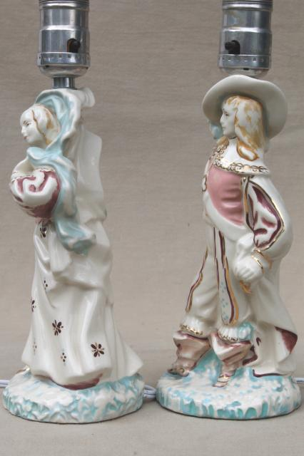 vintage china figurine lamps, French musketeer & country maid in pink & bluevintage china figurine lamps, French musketeer & country maid in pink & blue