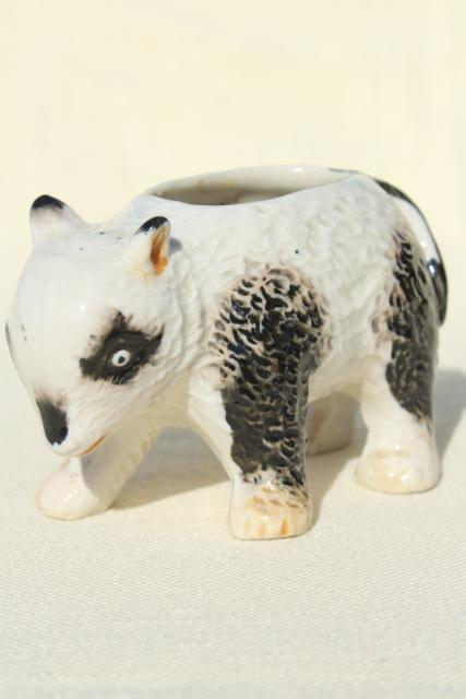 vintage china figurine planter pot, very old hand painted panda bear made in Japan