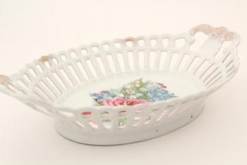 vintage china lace edged oval bowl, reticulated openwork made in Germany or Austria