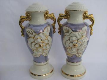 vintage china lamp bases, gold trim / white / french blue luster, big roses