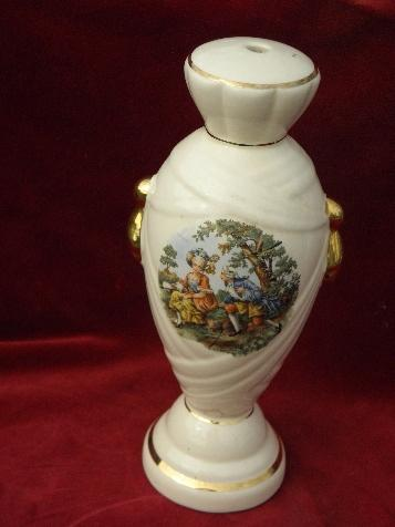 vintage china lamp body base, Colonial Couple pattern, hard to find old lamp part