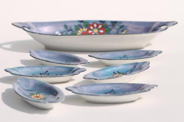 vintage china nut dishes or condiment / salt dip set, hand painted porcelain, made in Japan