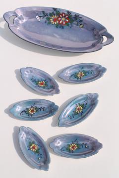 vintage china nut dishes or condiment / salt dip set, hand painted porcelain, made in Japan