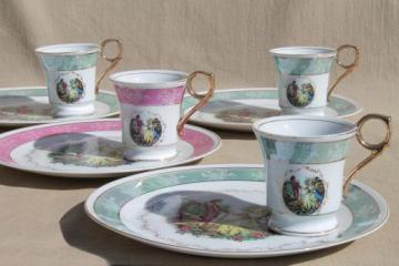 vintage china plates & teacups, sweet pink & green tea party luncheon set for a princess!