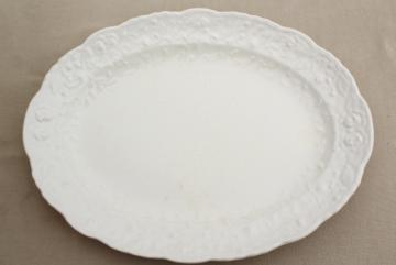 vintage china platter w/ embossed creamware type border, Rosepoint Steubenville