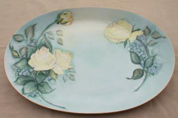 vintage china platter or oval tray, hand painted yellow roses on sky blue