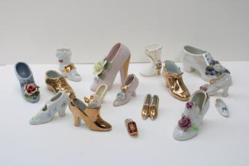 vintage china shoe figurines collection, miniature shoes Limoges, Germany, Lefton Japan