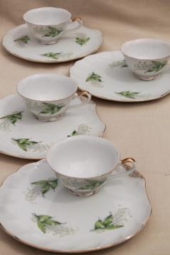 vintage china snack sets, tea cups & tray plates w/ lily of the valley lilies