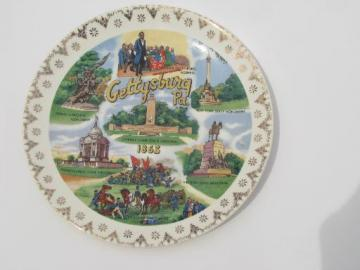 vintage china souvenir plate, Gettysburg Civil war landmarks and Lincoln
