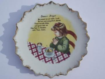 vintage china wall plate w/ Dinner Prayer, child's grace before meals