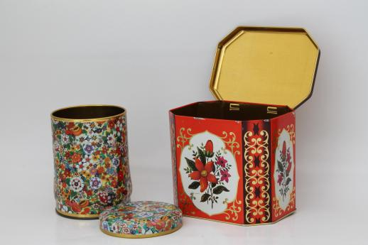 vintage chintz flowered tole tea tins, trays, metal canisters - bohemian style