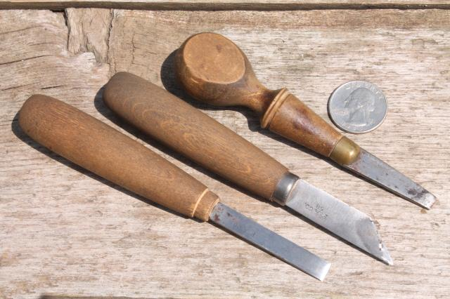 Vintage chip carving knives wood working tools lot of 3 in