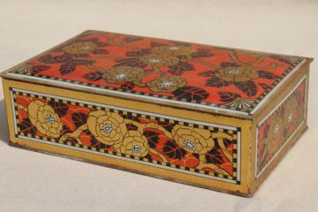 vintage chocolate box tin, red & gold print metal tin keepsake box w/ hinged lid