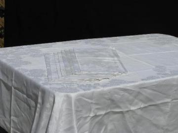 vintage chrysanthemums linen damask table linens, tablecloth & dinner napkins set