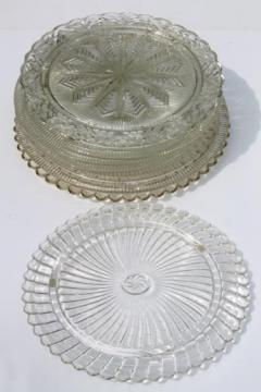 vintage clear glass cake plates, low plateau serving trays, torte plate lot