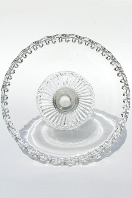 vintage clear glass cake stand, open lace edge crocheted crystal pedestal plate