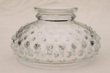 vintage clear glass hobnail glass shade for student desk light / miniature lamp