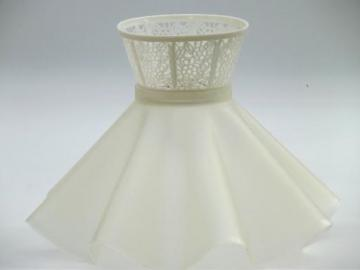 vintage clip-on lampshade, retro ruffled plastic lace boudoir lamp shade