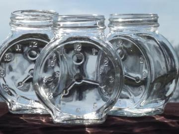 vintage clock face embossed jars, old condiment bottles spice jar lot