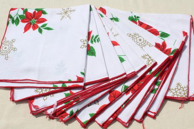 vintage cloth napkins, lot of Christmas prints & solid red linen dinner buffet napkins