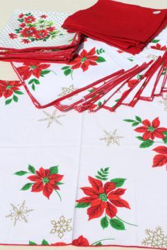 vintage cloth napkins, lot of Christmas prints & solid red linen dinner buffet napkins