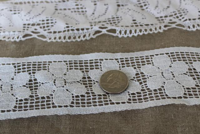 vintage cluny type lace sewing trim, wide insertion & edging new old stock