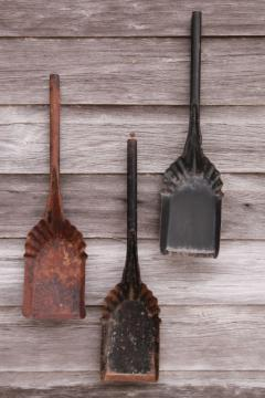 vintage coal shovels, metal scoops for stove scuttles, collection of old tools primitive wall decor