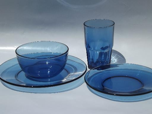 Lovely vintage cobalt blue Mexican glass dishes, set of Crisa Mexico  OH67