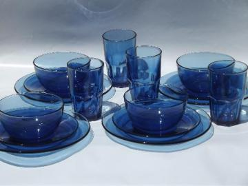vintage cobalt blue Mexican glass dishes, set of Crisa Mexico glassware