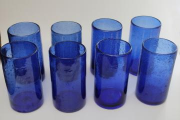vintage cobalt blue Mexican hand blown glass drinking glasses, heavy seeded glass tumblers