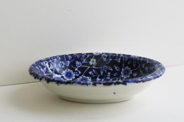 vintage cobalt blue and white chintz Calico china soap dish Burleigh - England