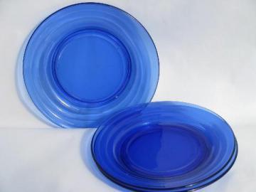 vintage cobalt blue depression glass plates, Moderntone banded ring