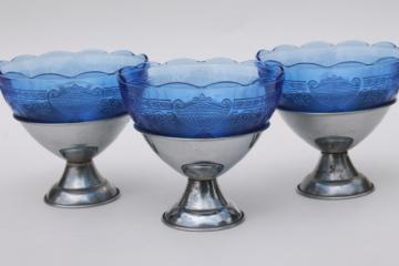 vintage cobalt blue depression glass sherbet dishes, glass bowls w/ metal holders