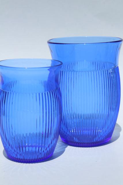 Vintage Cobalt Blue Depression Glass Tumblers Hazel Atlas