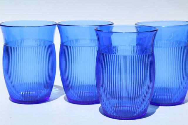 Vintage Cobalt Blue Depression Glass Tumblers Hazel Atlas
