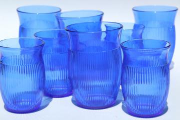 vintage cobalt blue depression glass tumblers, Hazel Atlas fine rib ribbed drinking glasses