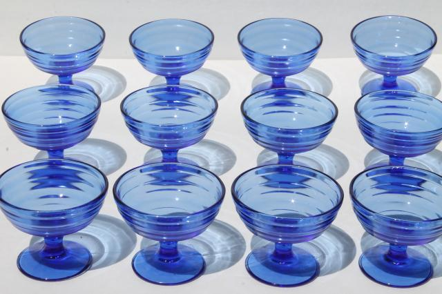 Well-liked vintage cobalt blue glass dessert dishes, Hazel Atlas moderntone  WQ11