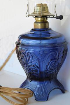 vintage cobalt blue glass kerosene lamp reproduction, hurricane shade electric light