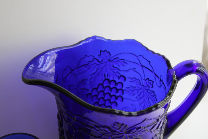 vintage cobalt blue glass lemonade set pitcher & tumblers, Mosser grape & cable pattern