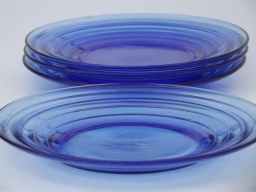 vintage cobalt blue glass plates Hazel Atlas moderntone depression glass & cobalt blue glass plates Hazel Atlas moderntone depression glass