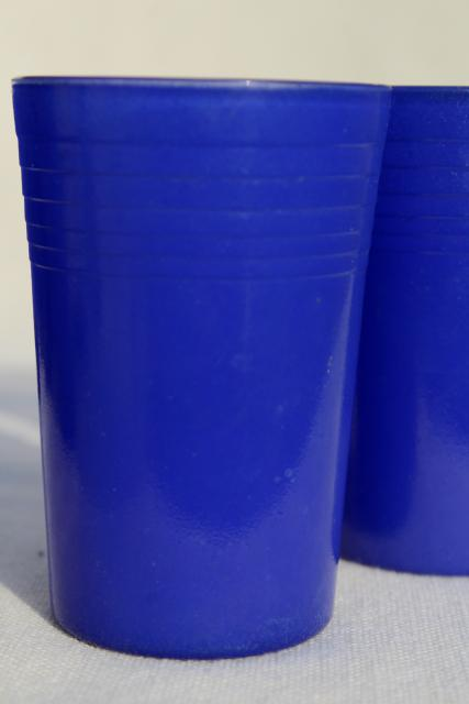 Vintage Cobalt Blue Tumblers Depression Era Juice Glasses
