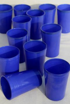 vintage cobalt blue tumblers, depression era juice glasses Hazel Atlas Moderntone platonite